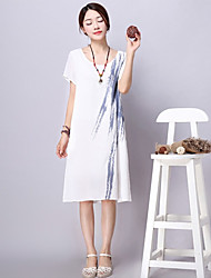 xiw&F Women's Vintage/Casual/Print Loose Chinese Ink Short Sleeve Midi Dress (Linen)