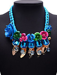 Eternity European And American Big Name Short Blue Flower Necklace