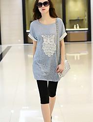 Spets Kortärmad T-shirt Kvinnors Rund hals Chiffong/Polyester
