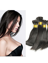"3pcs/lot 14""-34""Brazilian Virgin Human Hair Bulk For Braiding Good Quality #1B 300g Hair Weft Human Hair Extension"