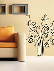 estilo de decalques de parede adesivos de parede de flor de parede preta pvc árvore adesivos
