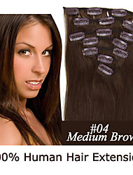 18inch 7pcs / set 120g clip-in hair remy human hair extensions 12 kleuren voor vrouwen schoonheid