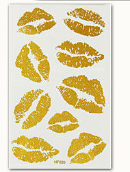 2015 New Metallic Tattoos Lips Design Temporary Tattoo Body Art Gold Tatto Flash Tatoo Sticker