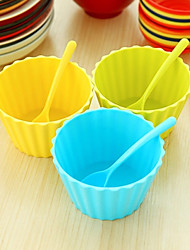Fruit Ice Cream Salad Dessert Bowls with Matching Spoons (Random Color)
