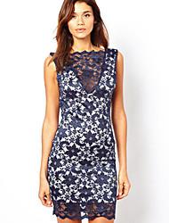 NUNEU    Women's Bodycon V-Neck Dresses (Cotton/Lace)