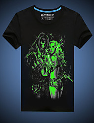 CliffWalker Men's Casual Black Skull and Lady Printed Glowing-in-the-dark Round Short Sleeve Luminous T-Shirts
