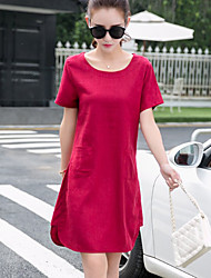 Women's Red/Green Dress , Casual Short Sleeve