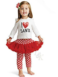 Girl's Cotton/Polyester Christmas Style Sweet Dots Long Sleeve Clothing Set