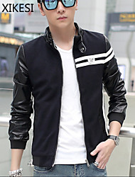 Men's Casual/Work Pure Long Sleeve Regular Jacket (Cotton Blend) XKS7F14