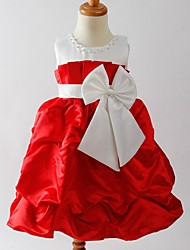 A-line Tea-length Flower Girl Dress - Satin Sleeveless Jewel with