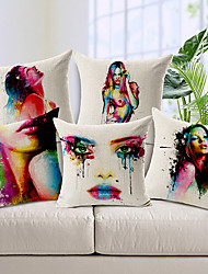 Set of 5 Body painting Colorful Flower Cotton/Linen Decorative Pillow Cover