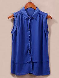 Women's Turn-down Collar Button Semi-Sheer Chiffon Blouse
