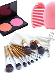 11pcs Makeup Cosmetic Eyebrow Foundation Kabuki Brushes Kits+2 Colors Face Blusher Makeup Palette+Brush Cleaning Tool