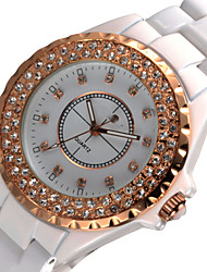 Women's Fashion Watch Simulated Diamond Watch Quartz Japanese Quartz Ceramic Band Sparkle Charm White