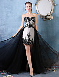 Mermaid / Trumpet Sweetheart Asymmetrical Lace Tulle Charmeuse Formal Evening Dress with Beading Lace by HUA XI REN JIAO
