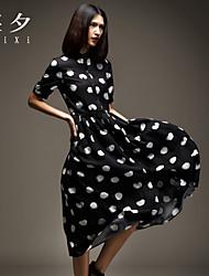 peter pan colarinho vestido das mulheres, seda / roupa de manga curta midi