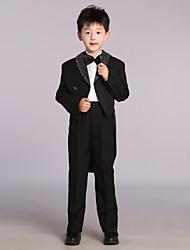 Black Cotton / Satin Ring Bearer Suit - 4 Pieces Includes  Jacket