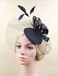 Women Feather/Net Fashion Black Hats/Birdcage Veils With Wedding/Party Headpiece