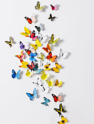38 Pcs Set of 2 3D Emulational Butterfly PVC Wall Stickers with Foam Stick 38 Pieces PVC/Plastic