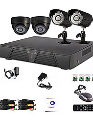 4-Kanal Home and Office DIY CCTV DVR-System (P2P Online, 4 D1 Recording)