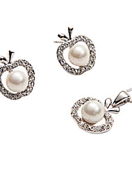 Faddish Shell Pearl with Glamorous Apple Shape Frame Pendant Necklace and Stud Earrings Set - 2 Colors Available