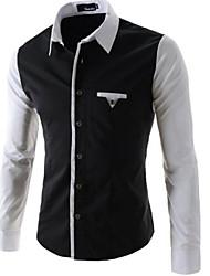 wans Men's Casual Shirt Collar Long Sleeve Casual Shirts