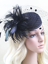 Women Satin/Feather/Net British Style Fascinators/Flowers/Hats With Wedding/Party Headpiece Black