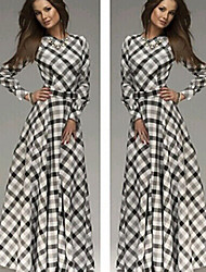 DFN   Women's Check Multi-color Dresses , Vintage / Casual Round Long Sleeve