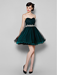 A-Line Sweetheart Knee Length Tulle Cocktail Party Homecoming Prom Company Party Dress with Side Draping by TS Couture®