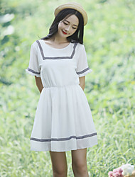 Women's Casual/Party/Work Preppy Chic Short Sleeve Above Knee Dress (Chiffon)