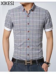 Men's Casual/Work/Formal Plaids & Checks Short Sleeve Regular Shirt (Cotton)XKS7B15
