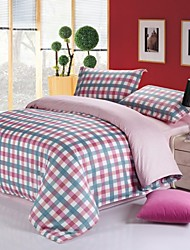 Red Grid Cotton Bedding Set of 4pcs Queen Size