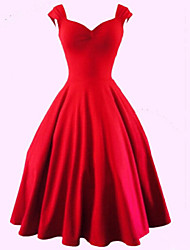 Women's Party Sexy / Vintage Plus Size / A Line Dress,Solid Sweetheart Knee-length Sleeveless Red / BlackCotton / Polyester /