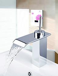Modern Chrome Waterfall Bathroom Faucet (Short) - Silver