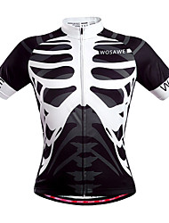 WOSAWE Cycling Jersey Unisex Short Sleeve Bike Breathable Quick Dry Back Pocket Sweat-wicking Jersey Tops Polyester Skulls Summer