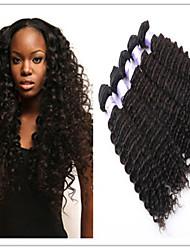 """3pcs / lot 8 """"-34"""" unverarbeitetes brasilianisches reines Haar natürliches schwarzes tiefe Welle Menschenhaar Webart"""