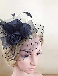 Women Feather/Net Black Flower Bowknot Fascinators/Hats With Wedding/Party Headpiece