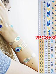 3PCS Colorful Tattoos+ 2PCS Flash Tattoo Gold Tattoo Metallic Tattoo Flash Temporary Tattoo Sticker Taty Metal Tatoos