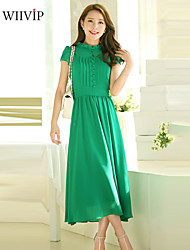 Women's Sexy/Party/Maxi/Plus Sizes Micro-elastic Short Sleeve Midi Dress (Chiffon)WP7C04