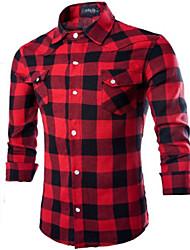 Camicia Uomo Casual A quadri Cotone Manica lunga Nero / Rosso