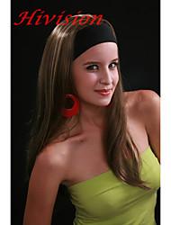 nova moda 3/4 peruca com meio cabeça marrom com destaque gengibre metade sintética reta longa peruca 679b10-124