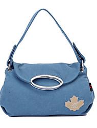 Women 's Canvas Hobo Shoulder Bag/Tote - Blue/Red