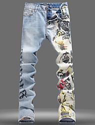 Men's Casual Light Blue Print Jeans Long Pant (Cotton/Denim)