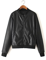 Women's Solid Black Jackets , Casual Long Sleeve
