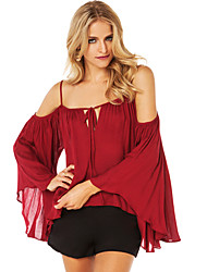 Women's Blouse , Off Shoulder/Strap/Bateau ¾ Sleeve Backless