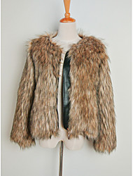 Cappotti in pelliccia - Maniche lunghe - di Pelliccia sintetica - Cammello