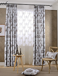 (One Panel) Double Pleated Modern Brown Architectural Landscape Room Darkening Fabric Curtain Drapes