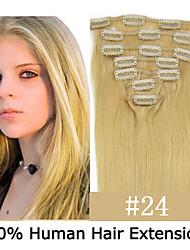 20inch 7pcs / set 120g clip-in hair remy human hair extensions 12 kleuren voor vrouwen schoonheid