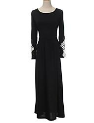 Damen Kleid Maxi Baumwolle Langarm Rundhalsausschnitt