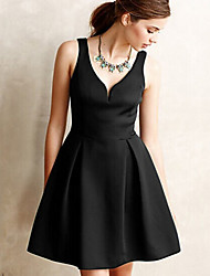 Women's Vintage Slim V Neck Solid Color Sleeveless Dress